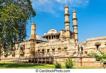 jami, masjid, um, principal, atração turística, em, champaner-pavagadh, arqueológico, parque, -, gujarat, índia