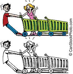 Jammed Shopping Carts line art