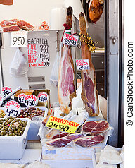 jamon and olives at market - Meat at spanish market - jamon...