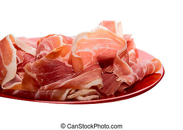 jamon dish on white background