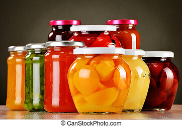 jams., conservato, frutte, compotes, vasi, fruity