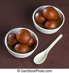 jamun, dolce, ciotola, gulab, piatto, pietanza, cucchiaio, o, dessert, indiano