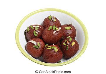 jamun, gulab, dolce, isolato, indiano, rasgulla, piatto, pietanza, o