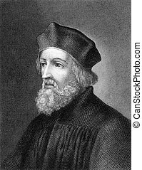 Jan Hus (1369-1415) on engraving from 1859. Czech priest, ...