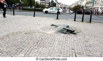 Jan Palach Memorial- at Wenceslas Square in Prague. Czech Republic