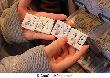 jane, namenetikett, alphabet, mit, hände