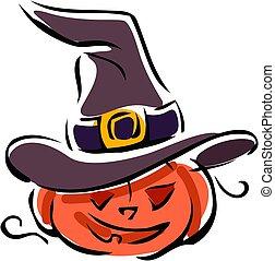 jane o lantern in a witch's hat
