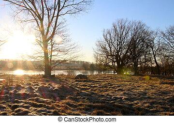janeiro, amanhecer, em, a, lago