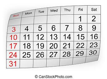 janeiro, calendário, 2010