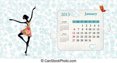 janeiro, calendário, 2013