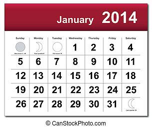 janeiro, calendário, 2014