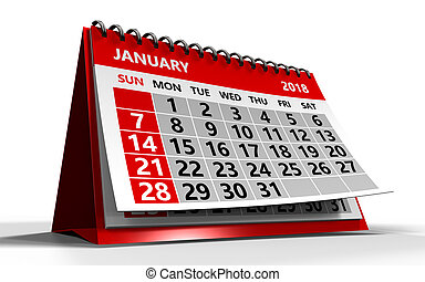 janeiro, calendário, 2018