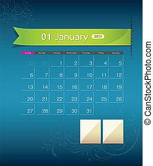 janeiro, calendário, desenho, 2013, fita