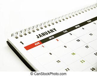 janeiro, calendário, página