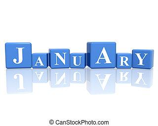 janeiro, cubos, 3d