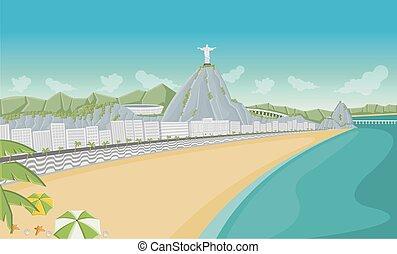 janeiro, rio, 海灘, copacabana, de