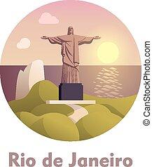 janeiro, voyage, rio, icône, destination, de