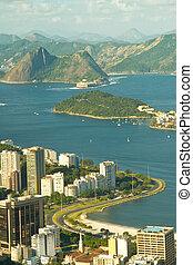 janeiro\'s, ciudad, de, océano, río, paisaje, mezclar,...