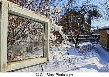 janela aberta, com, um, vista, de, a, inverno, rua