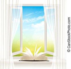 janela aberta, fundo, book., vector.