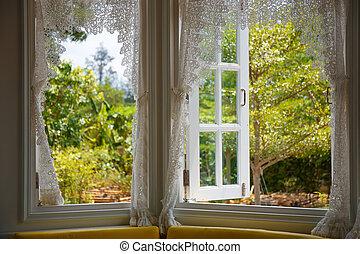 janela aberta, para, a, jarda