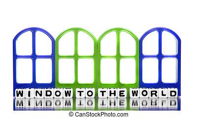 janela ao mundo, com, bordas