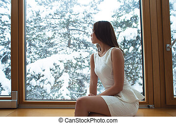 janela, através, inverno