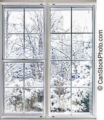 janela, através, inverno, vista