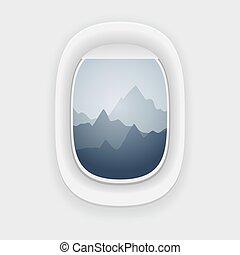 janela avião, vista