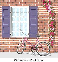 janela, bicicleta