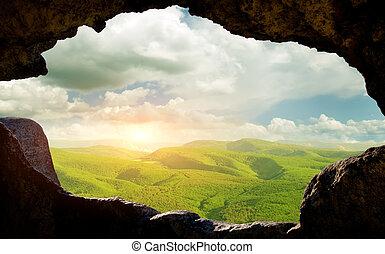 janela, caverna, através, moradias, vista