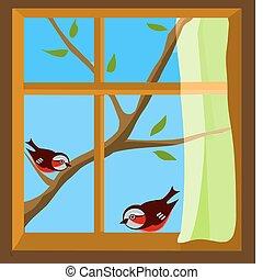 janela, com, um, vista, para, dois pássaros, ligado, primavera, ramo
