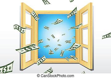janela, dólar, vinda
