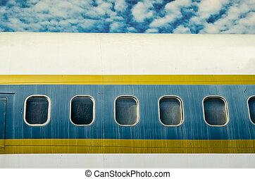janela, de, avião, ligado, céu azul, fundo