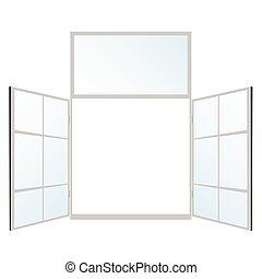 janela, em, branca, cor, vetorial, ilustração