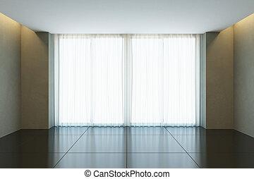 janela, escritório vazio, sala