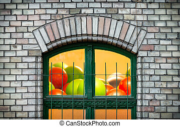 janela, europe., antigas, hungria, budapest