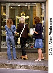 janela fazendo compras