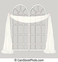 janela francesa, e, branca, cortina, isolado, ligado, um, cinzento, experiência., vetorial, caricatura, close-up, illustration.