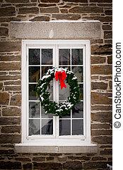 janela, grinalda, antigas, natal, vidraça