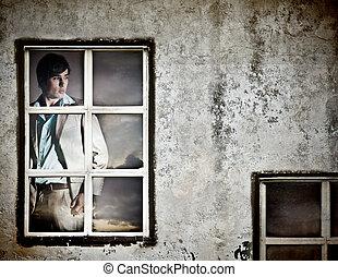 janela, homem, jovem, bonito