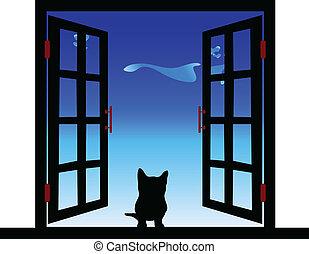janela, ilustração, gato