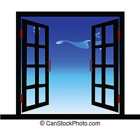 janela, ilustração, vista