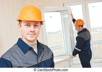 janela, instalação, trabalhadores