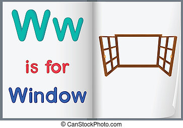 janela, livro, desenho