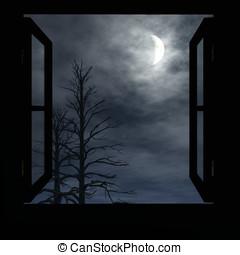 janela, lua crescente