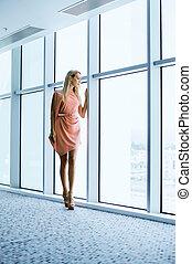 janela, mulher, predios, escritório, elegante