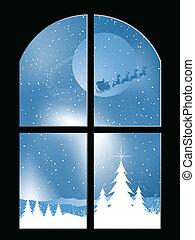janela, nevado, através, noturna