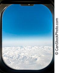 janela, nuvens, avião, acima, vista