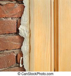 janela, porta, instalar, polyurethane, ou